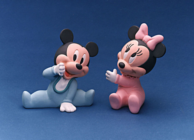 Telaflora Baby Mickey and Baby Minnie ceramic ware sold with a gift box full of flowers