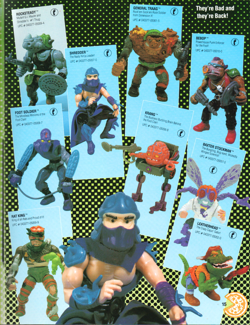 Playmates toys catalog page from 1990 -