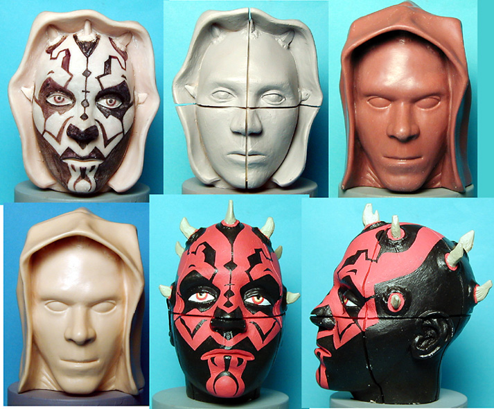 Studies for a Darth Maul Rubits Cube head- only the hooded piece on the right was produced