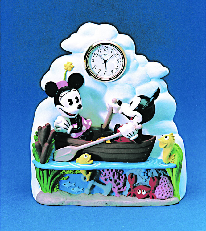Mickey and Minnie out in a row boat clock - resin hand painted