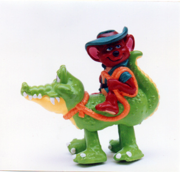 Tilt Waker rescuer mouse rides a gator Mcdonalds happy meal toy