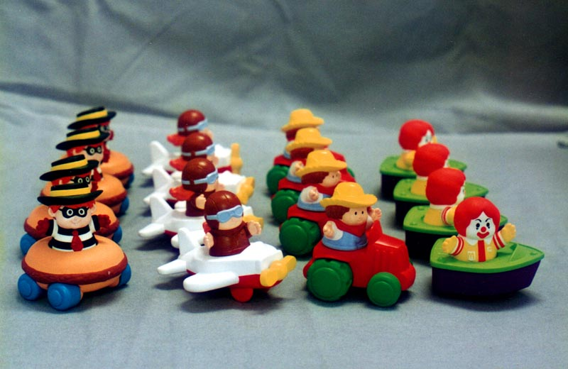 painted samples for Fischer Price style happy meal toys