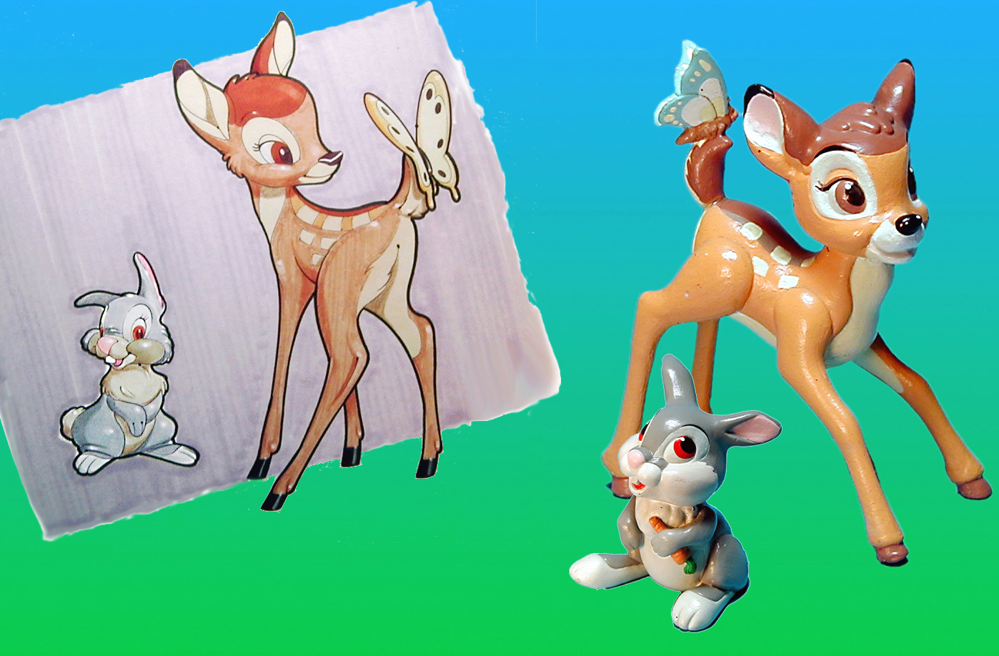 Marker Comp drawing and finished prototypes for Bambi and Thumper McDonalds