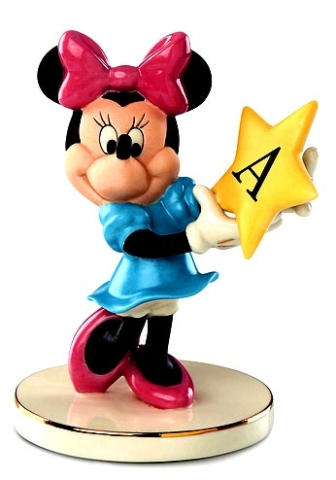 Minnie Mouse holds a customized star Lenox fine china customize the letter