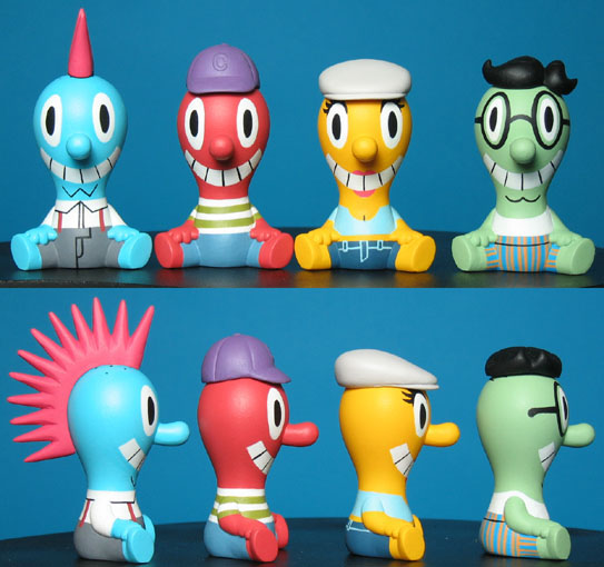 the same figure with different hats and paint jobs for a Cranium toys game