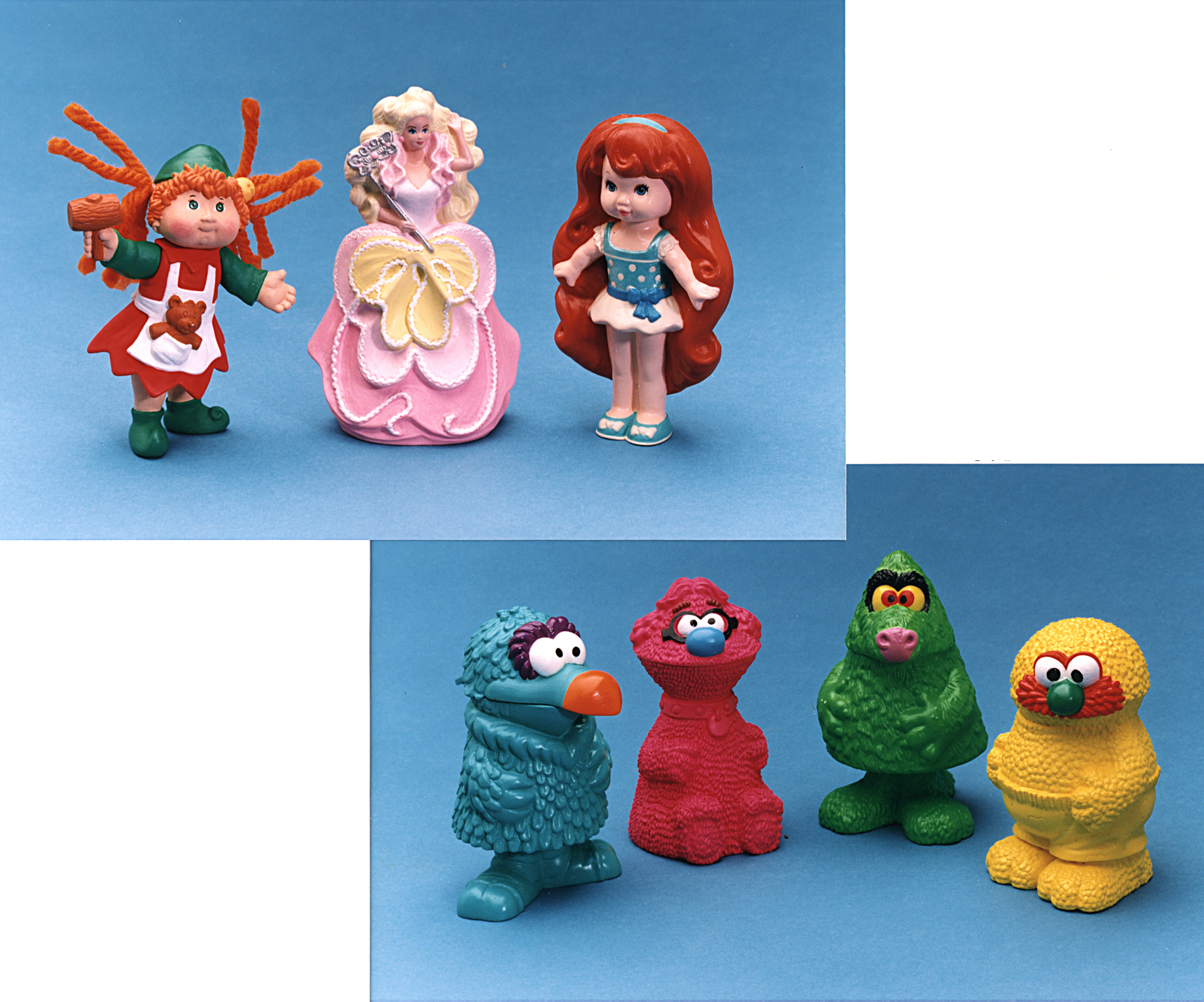 Muppets blue, magenta,green and yellow Barbie, Cabbage Patch kid happy meal