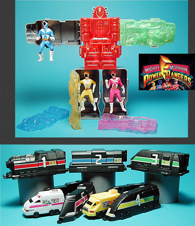 Power Rangers Happy Meal program figures, vehicles and giant robot
