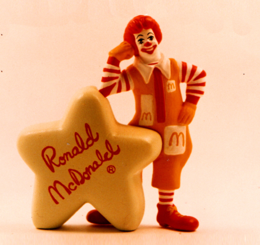 Ronald McDonald toy with glow in the dark star