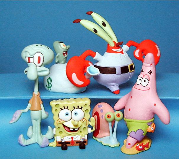 Sponge Bob, Squidward, Patrick, Mr Crab, Gary and Plankton