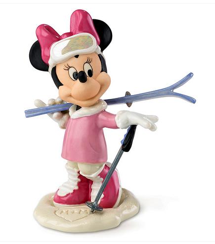 Minnie Mouse waving while she goes to ski Lenox figure