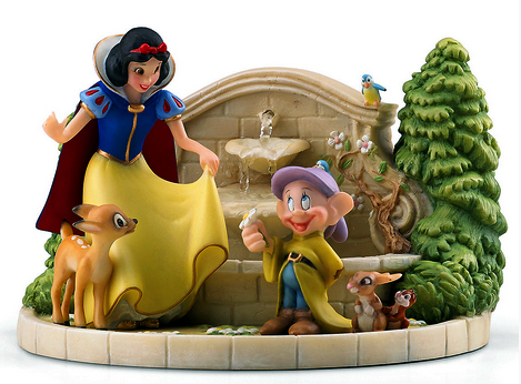 Snow White and Dopey fountain - Disney desktop water fountain