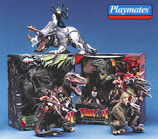 Dinosaurs Indians and Turok ready for battle Playmates Toys