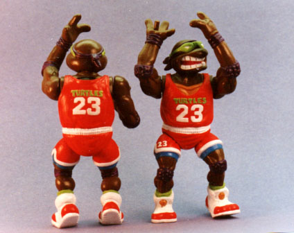 Turtle Basketball player - Playmates toys - front and back