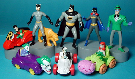 Batman, Catwoman, Batgir,l the Riddle,r Robin, the Joker, Poisen Ivy Happy Meal