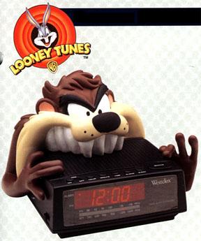 Taz bites a digital clock from Westclox