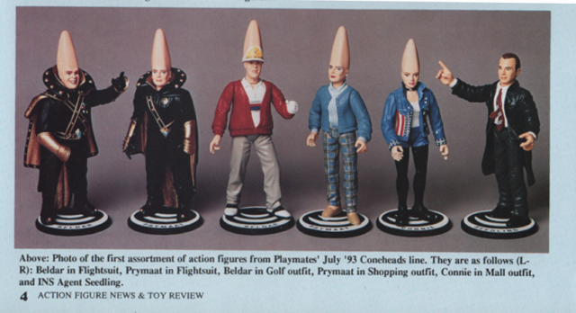 Coneheads figures from Playmates Beldar Prymat Connie and Agent Seedling