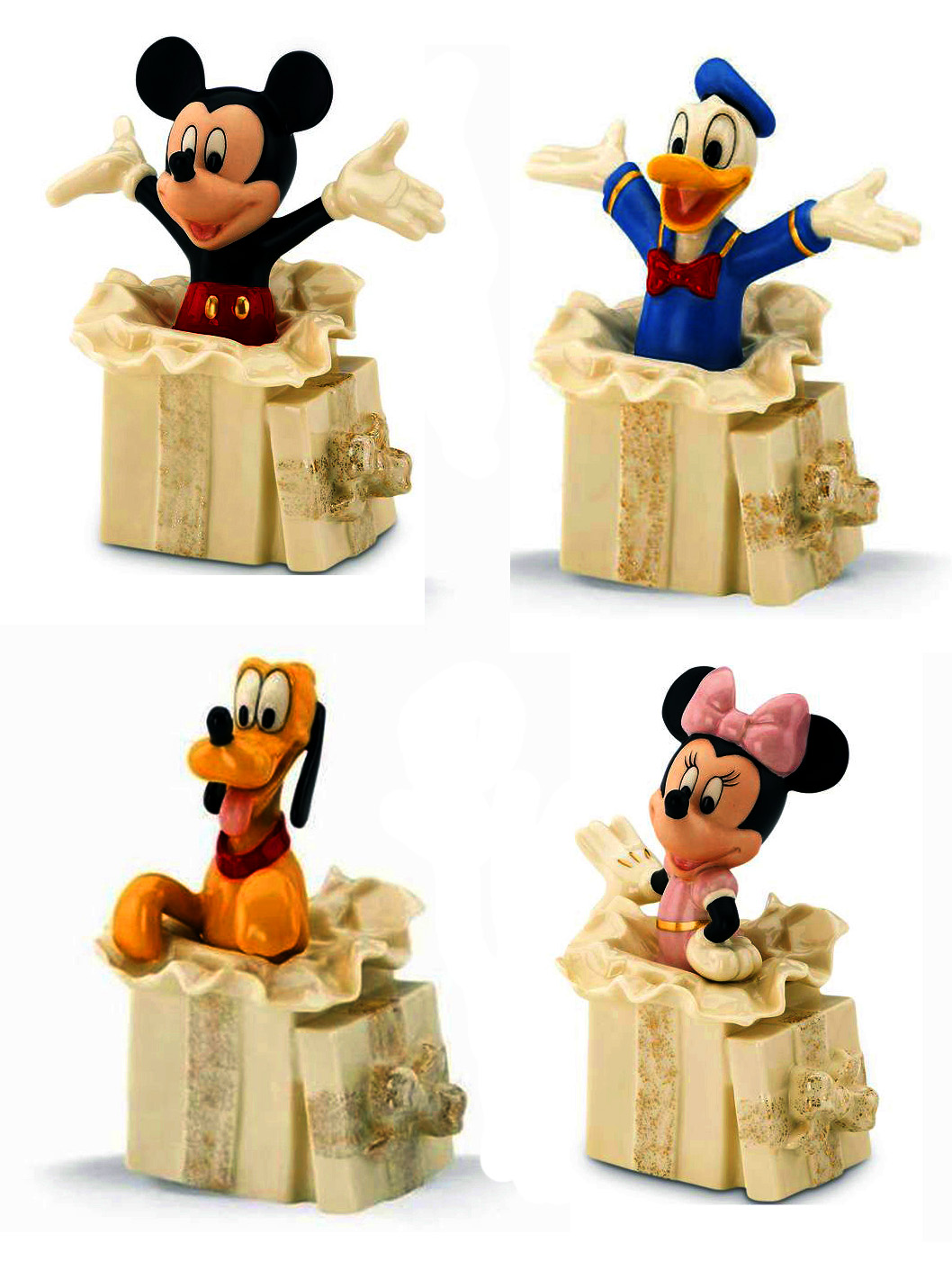 Mickey Mouse, Donald Duck, Pluto and Minnie Mouse burst our of gift boxes