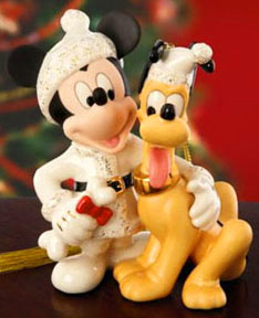 Lenox ceramics Best Friends Pluto and Mickey Xmas
