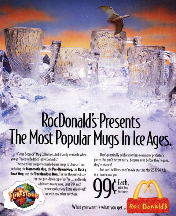 Flintstones glasses for RocDonalds
