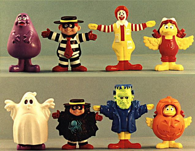 McDonalds Happy Meal halloween program - styrene costums snap on vinyl figures