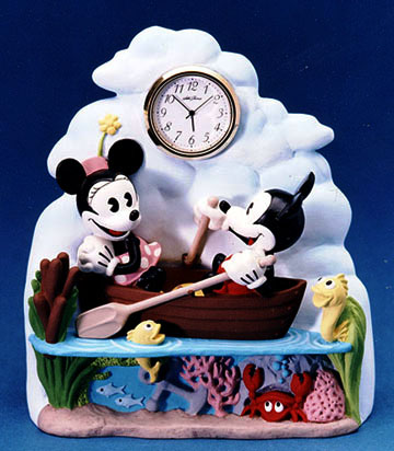 Minnie & Mickey rowing clock - Resin cast hand painted