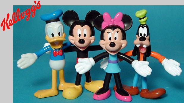 Donald, Mickey, Minnie, Goofy Bendies for Kelloggs