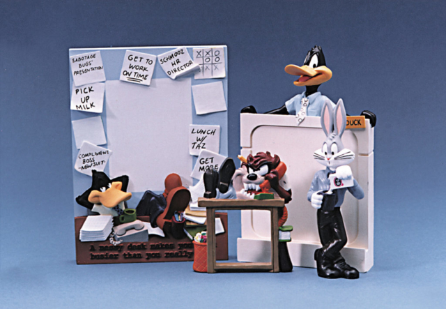 resin cast offic deco for Warner Bros studio store Daffy, Taz, and Bugs