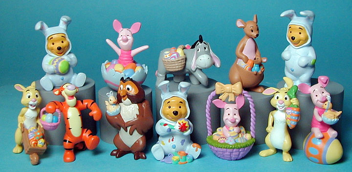 Easter Winnie the Pooh vinyl figures Piglet, Pooh, Eyore, Owl, Tiger, Kanga and Roo and the Rabbit