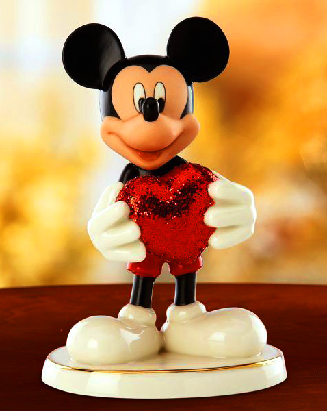 Mickey holds a glittery red heart Lenox Ceramics for Valentines day