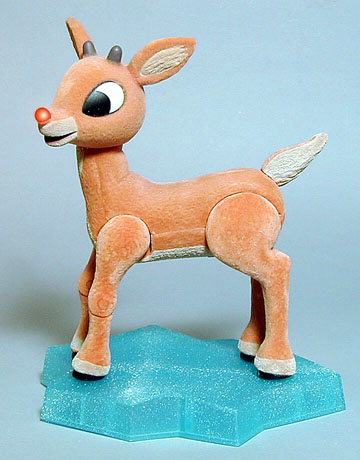 Rudolph the Rednosed Reindeer flocked, posable with a light up nose