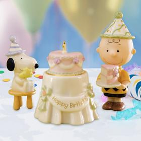 Lenox Birthday Party ceramic Snoopy, Woodstock and Charlie Brown