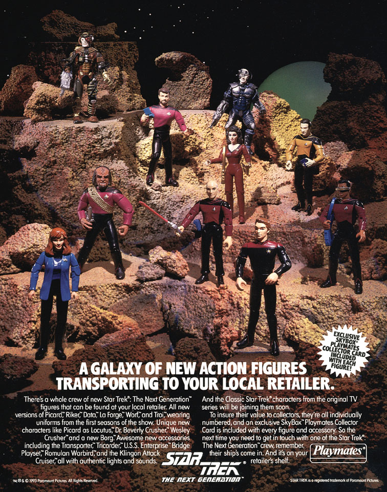 an ad for Playmates toys next Gen Star Trek figures
