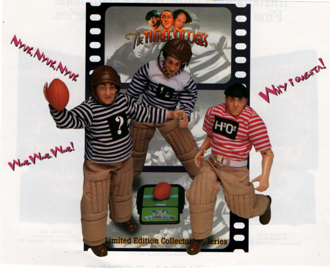 Linited edition football playing three stooges Curly Moe and Larry