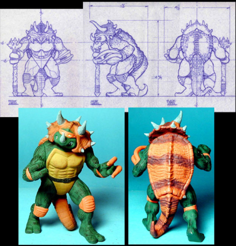 Dino Turtle view drawings and final painted sample Playmates toys