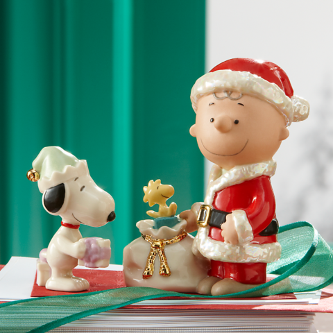Lenox Ceramics Christmas with Charlie Brown, Snoopy Woodstock and a sack of toys
