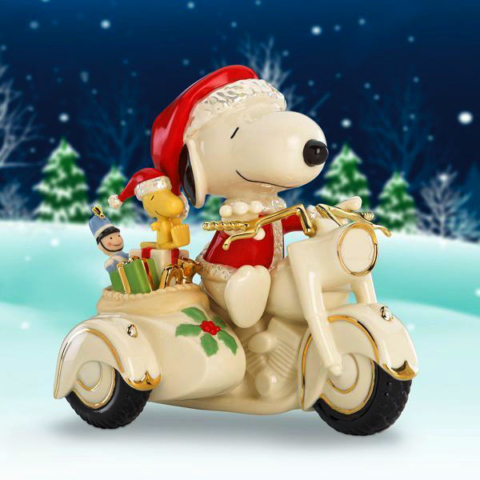 Lenox Ceramics Christmas Snoopy and Woodstock with gifts on an Indian motorcycle sidecar