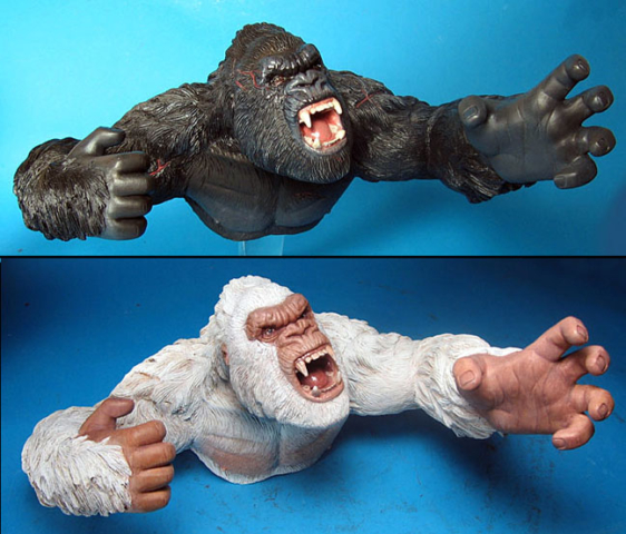 Kong Dark and Kong Light hand puppets - color varients- never produced