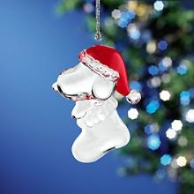 Snoopy and Woodstock in a Christmas stocking metal xmas ornament Lenox