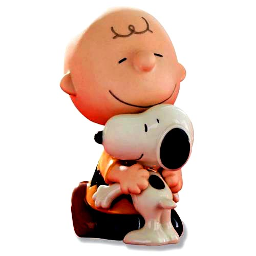 Snoopy & Charlie Brown hug it out  - Lenox ceramics