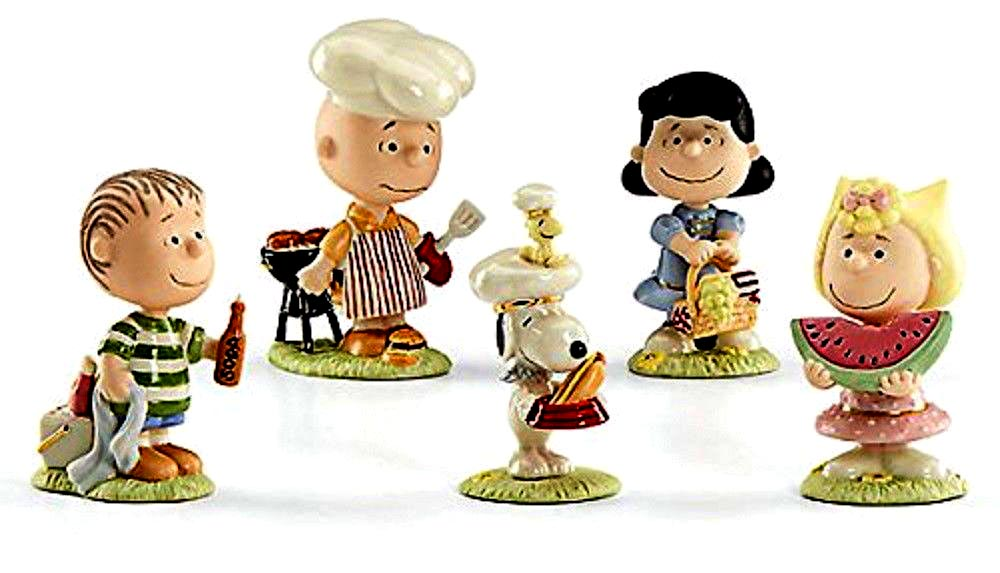 Lenox fine china - the Peanuts gang at the BBQ - Chuck is grilling the burgers and Sally has watermelon