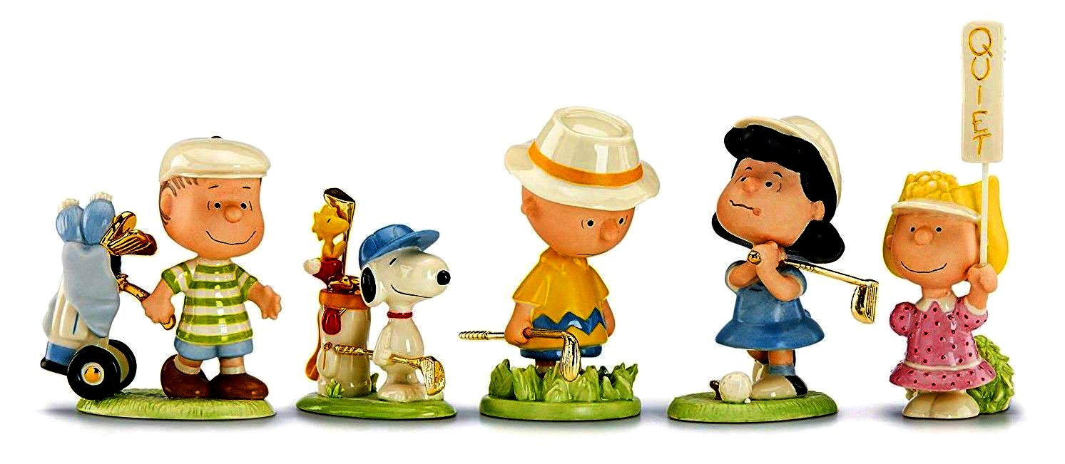 Lenox fine china figures - Charlie searches for his ball and Sally calls for quiet and Linus needs a caddy