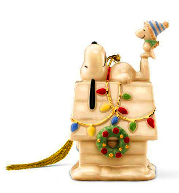 Snoopy and Woodstock and the doghouse Christmas tree ornament